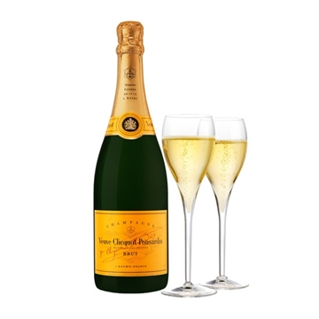 Picture of Veuve Clicquot Brut Champagne (750 ml.) With Gift box with 2 matching glasses